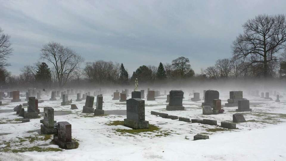Fog envelops a section of the Graceland Cemetery in Albany on Dec. 22 i this photo by Eric James Pla