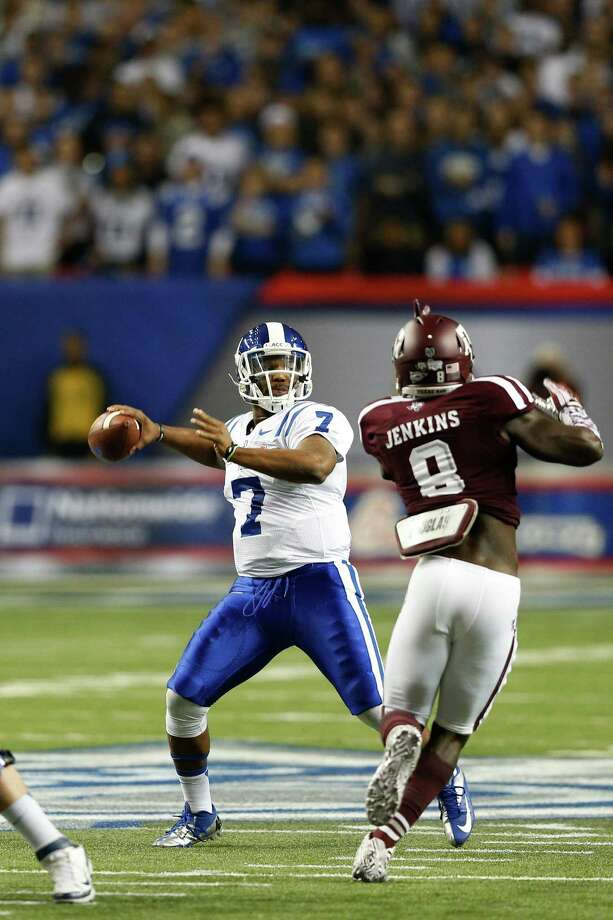 ATLANTA, GA - DECEMBER 31: Anthony Boone #7 of the Duke Blue Devils throws a pass against the Texas A&M Aggies in the first half during the Chick-fil-A Bowl at the Georgia Dome on December 31, 2013 in Atlanta, Georgia. Photo: Joe Robbins, Getty Images / 2013 Getty Images