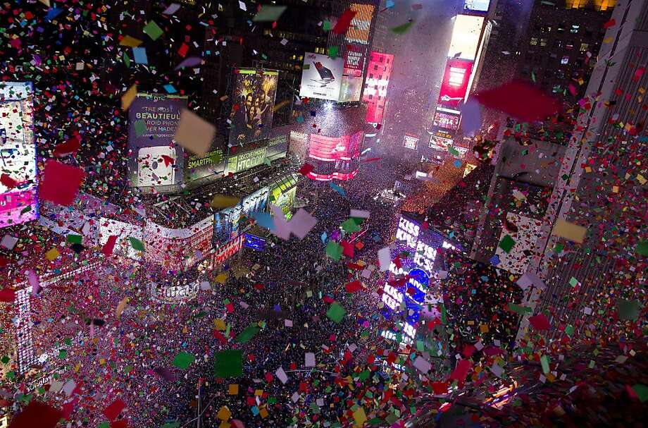 Confetti flies over Tines Square in New York Wednesday, Jan. 1, 2014 as the new year is celebrated. (AP Photo/Craig Ruttle) Photo: Craig Ruttle, Associated Press