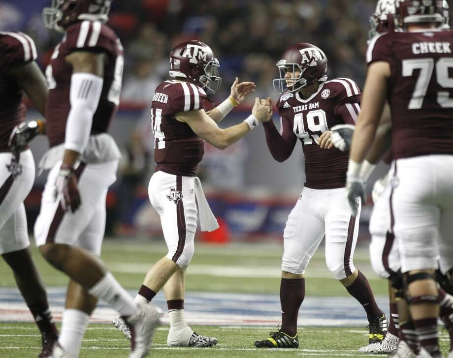 Texas A&M kicker Josh Lambo reacts after making a field goal against Duke. Photo: Brett Coomer, Houston Chronicle