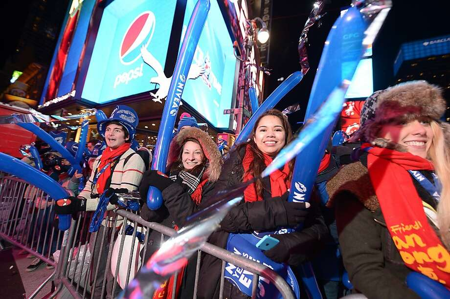 Millions celebrate New Years Eve with NIVEA hats in Times Square on December 31, 2013 in New York City. Photo: Michael Loccisano, Getty Images For Nivea