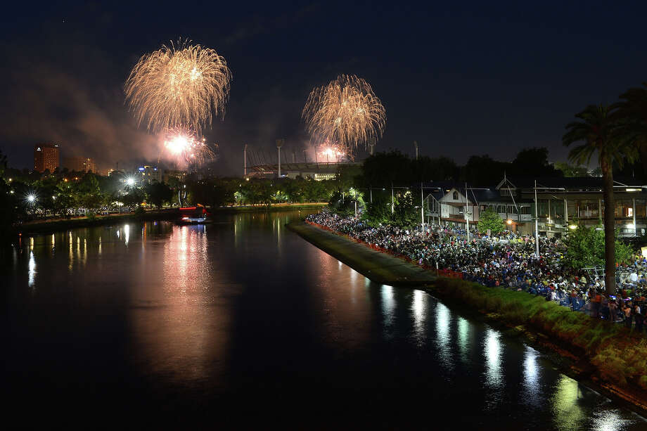 Fireworks over The Melbourne Cricket Ground and Yarra River during New Years Eve fireworks on December 31, 2013 in Melbourne, Australia. Photo: Vince Caligiuri, Getty Images / 2013 Getty Images
