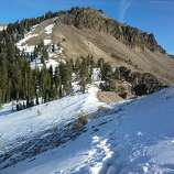 Castle Peak, 9,103 feet is located directly across from Boreal Mountain Resort on I-80 near Donner Pass.  It usually is covered with snow at this time of the year.