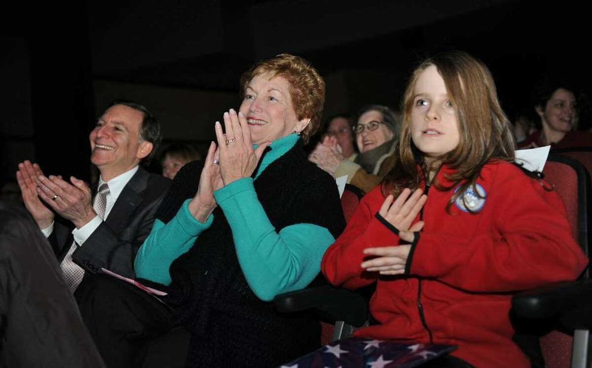 Osborn Hill Elementary School held its Annual Variety Show at Roger Ludlowe Middle School Auditorium in Fairfield, Conn. on Friday January 29, 2010. Here, Governor M. Jodi Rell, in center, watches the show with student Sean Oppenheimer, who invited the governor to attend. At left is Fairfield's First Selectman Kenneth Flatto.