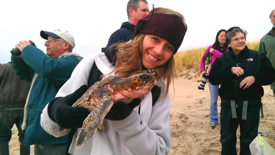 Victoria Snyder, a College of St. Rose student from Latham, holds the Kemp's Ridley sea turtle that she rescued from death along a beach on Cape Cod Bay in Wellfleet.