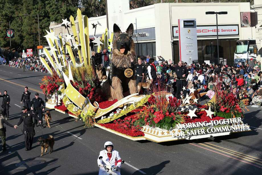 PASADENA, CA - JANUARY 01: The K9s4Cops float on the parade route during the 125th Rose Parade on January 1, 2014 in Pasadena, California. Photo: Frederick M. Brown, Getty Images / 2014 Getty Images