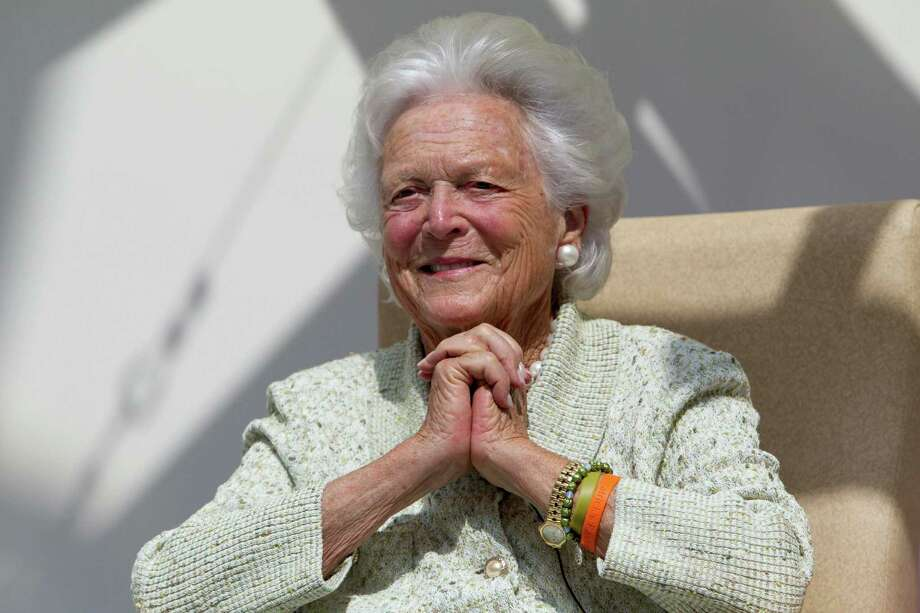 FILE - In this Thursday, Aug. 22, 2013 file photo, former first lady Barbara Bush listens to a patient's question during a visit to the Barbara Bush Children's Hospital at Maine Medical Center in Portland, Maine. A statement released through the family Sunday, April 15, 2018 said Bush is in failing health, and will now receive comfort care. (AP Photo/Robert F. Bukaty, File) ORG XMIT: NY136 Photo: Robert F. Bukaty / AP
