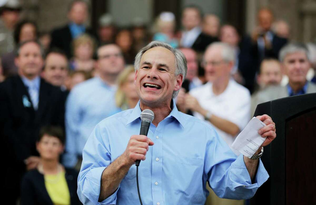 In this July 8, 2013 file photo, Texas Attorney General Greg Abbott speaks during an anti-abortion rally at the Texas Capitol, in Austin, Texas.