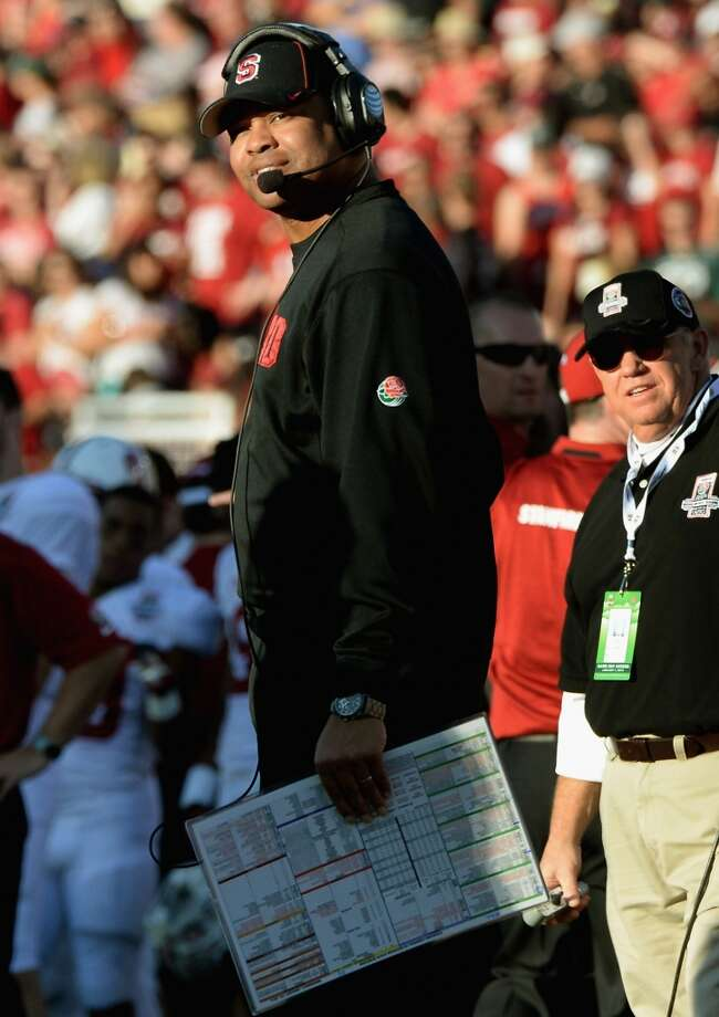 Stanford Cardinal head coach David Shaw looks on against the Michigan State Spartans during the 100th Rose Bowl Game. Photo: Harry How, Getty Images