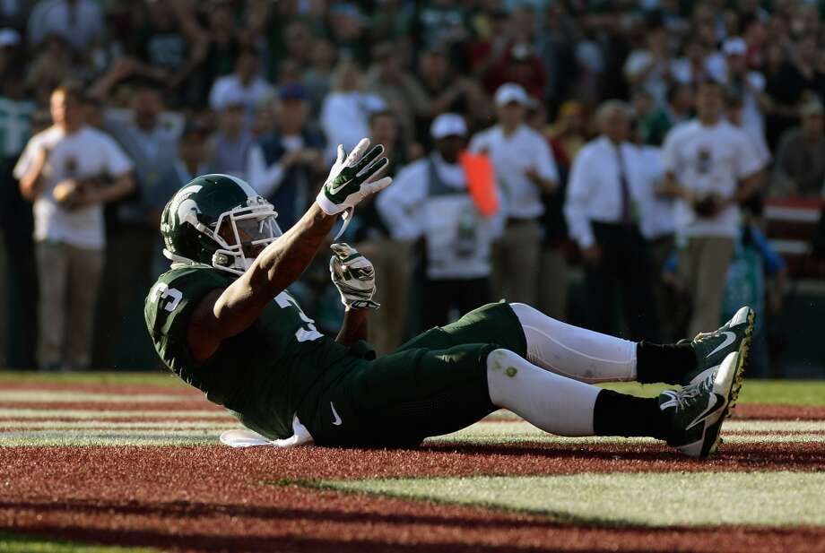 Wide receiver Macgarrett Kings Jr. #3 of the Michigan State Spartans reacts after a pass interference call against the Stanford Cardinal in the second quarter of the 100th Rose Bowl Game presented by Vizio at the Rose Bowl on January 1, 2014 in Pasadena, California. Photo: Harry How, Getty Images