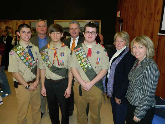 Three members of Boy Scout Troop 526, Matthew Bornhorst, David Engwer and Brandan Westfall, attained the rank of Eagle Scout during a ceremony Sunday at Hoags Corners Fire House in Nassau. Legislator Judith Breselor was pleased to join other elected officials in presenting congratulations to the new Eagle Scouts. From left, Eagle Scout Brandan Westfall, Nassau Supervisor David Fleming, Eagle Scout David Engwer, Assemblyman Steve McLaughlin, Eagle Scout Matthew Bornhorst, Legislator Judith Breselor and County Executive Kathleen Jimino.