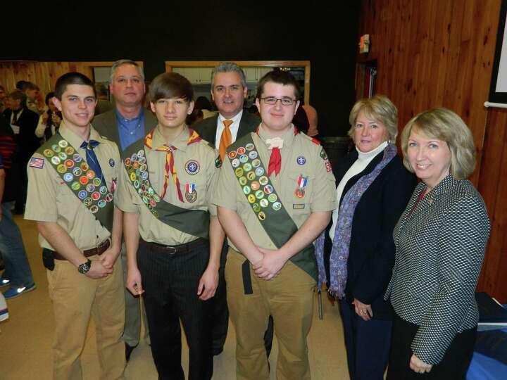 Three members of Boy Scout Troop 526, Matthew Bornhorst, David Engwer and Brandan Westfall, attained