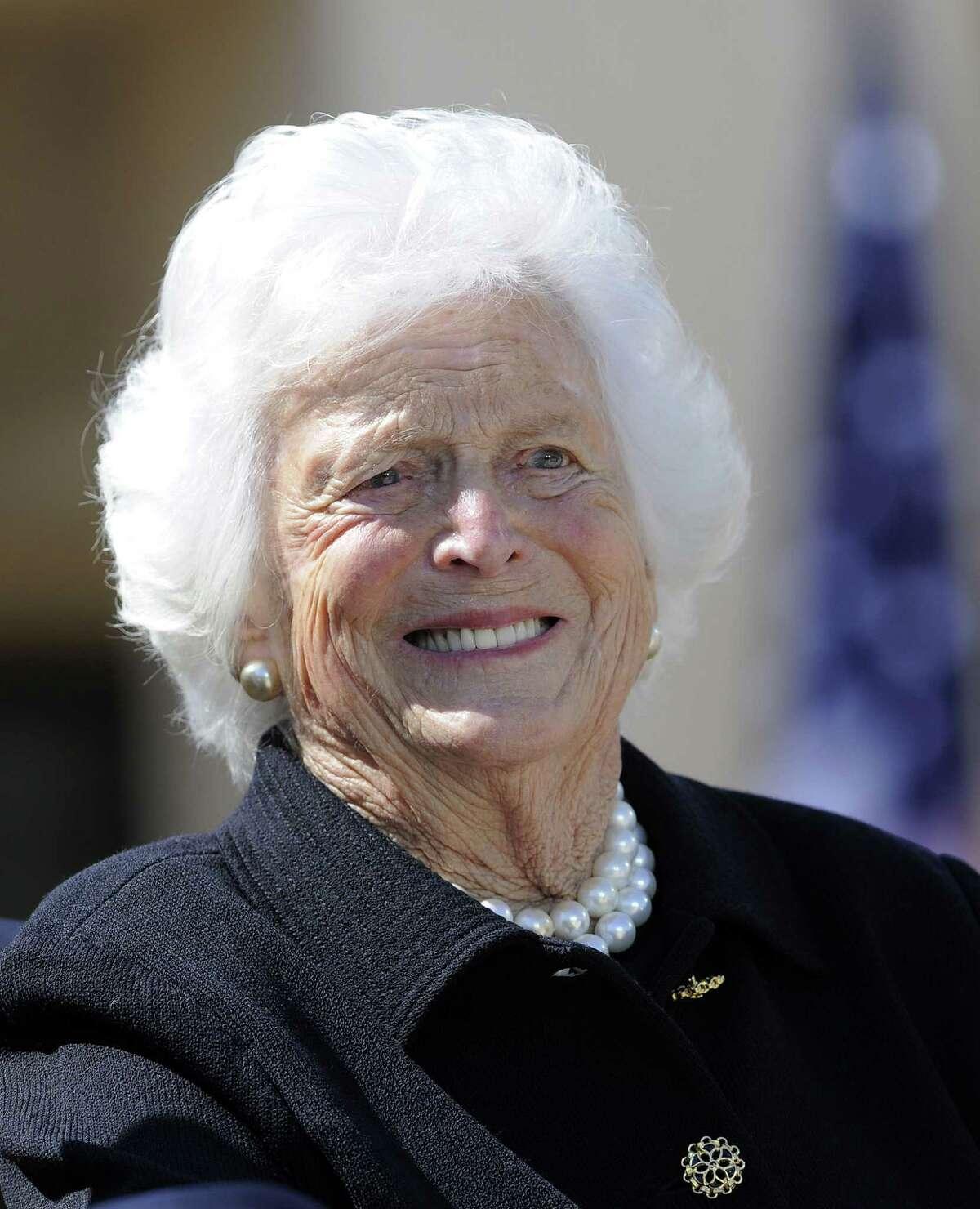 Barbara Bush, shown last year in Dallas, is in Methodist Hospital at Texas Medical Center.