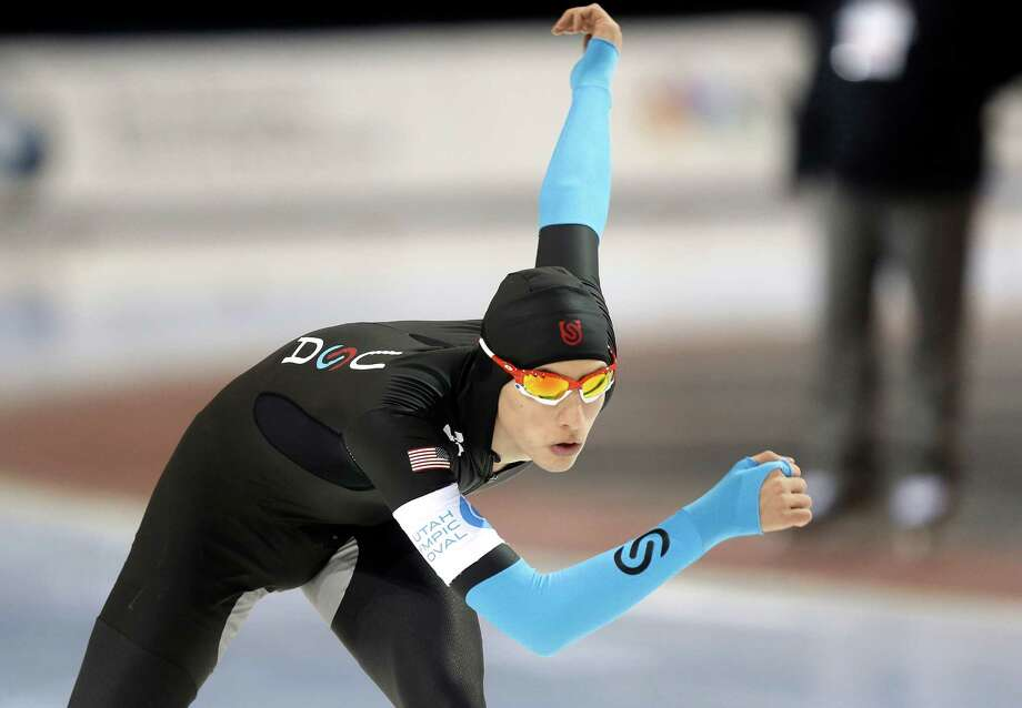 Emery Lehman competes in the men's 10,000 meters during the U.S. Olympic speedskating trials Wednesday, Jan. 1, 2014, in Kearns, Utah. Lehman came in first place. (AP Photo/Rick Bowmer) ORG XMIT: UTRB119 Photo: Rick Bowmer / AP