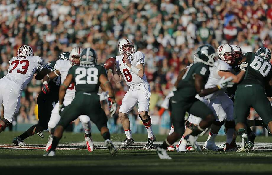Stanford quarterback Kevin Hogan will have a lot to work with when he returns for his senior season. All his wide receivers are returning, and the tight ends should be improved. Photo: Michael Macor, The Chronicle
