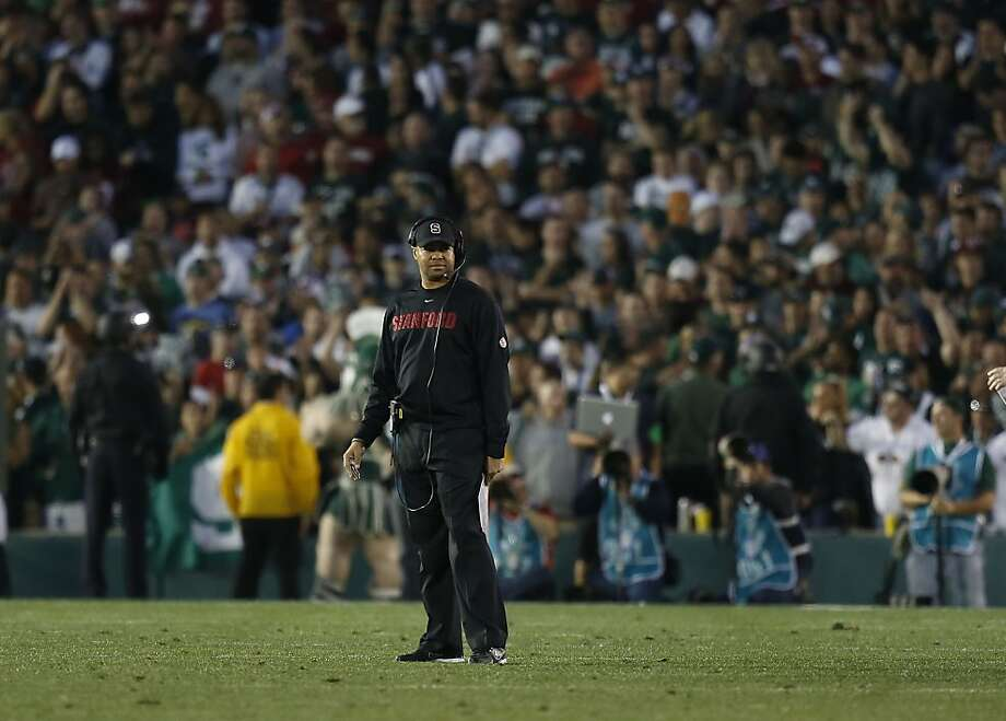 Stanford's head coach David Shaw walks onto the field during a time out in the fourth quarter, as the Stanford Cardinal went on to lose to the Michigan State Spartans 24-20 in the 100th Rose Bowl game in Pasadena, Ca. on Wednesday Jan. 1, 2014. Photo: Michael Macor, The Chronicle