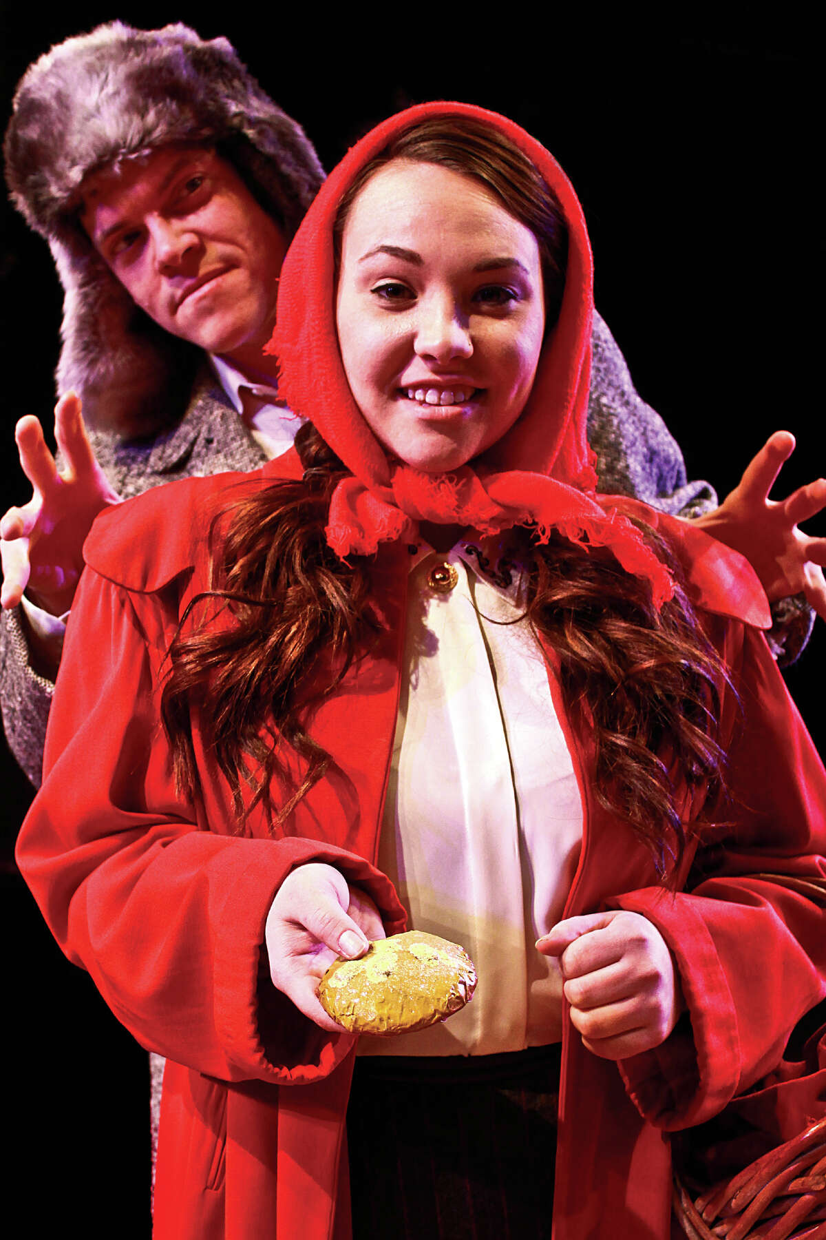 """The Wolf threatens Little Red Riding Hood in the coming production of """"Into the Woods."""""""