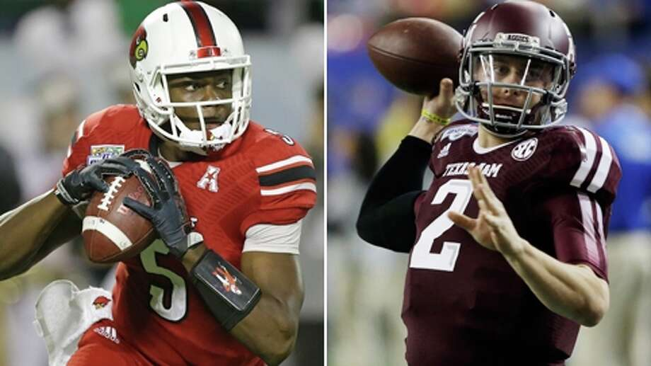 The two quarterbacks who have been most often mentioned as possible options for the Texans both did nothing to hurt their respective causes in their final college games. Teddy Bridgewater led Louisville to a 36-9 victory over Miami in the Russell Athletic Bowl Saturday, while Johnny Manziel helped rally Texas A&M to a dramatic 52-48 win over Duke in the Chick-Fil-A Bowl New Year's Eve. How Bridgewater and Manziel compare: Photo: Associated Press Photos