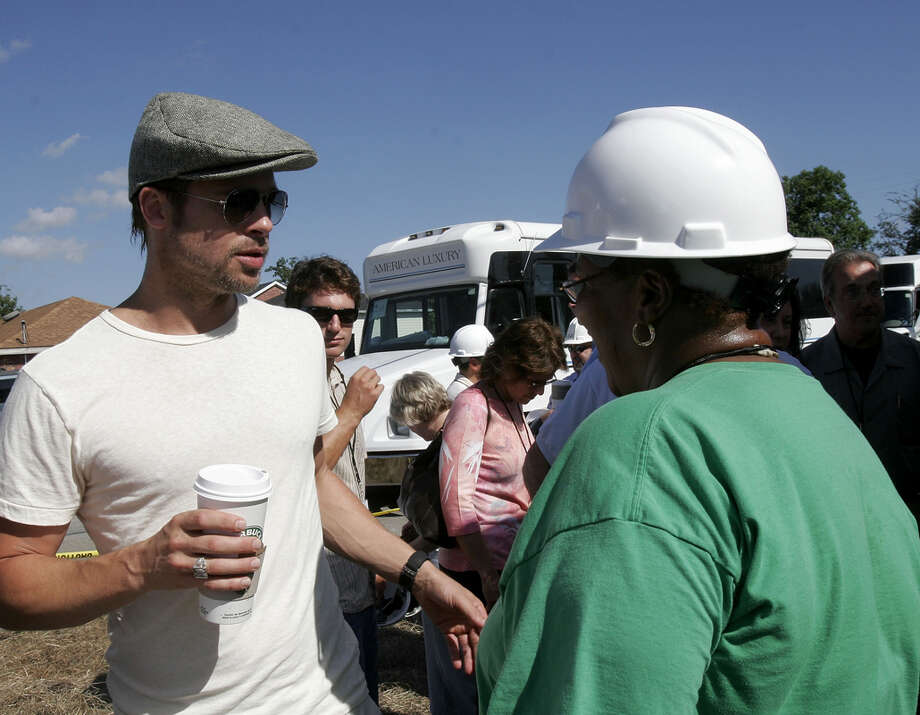Brad Pitt talks at the Global Green USA's first house project at the Holy Cross Neigbourhood association project in the 9th ward district, on August 21, 2007 in New Orleans, Louisiana. Photo: Marsaili McGrath, Getty Images / 2007 Getty Images