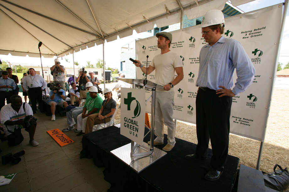 Actor Brad Pitt (R) and Global Green USA President Matt Petersen attend a press conference for the Global Green USA's first house project at the Holy Cross Neigbourhood association project in the 9th ward district, on August 21, 2007 in New Orleans, Louisiana. Photo: Mark Mainz, Getty Images / 2007 Getty Images