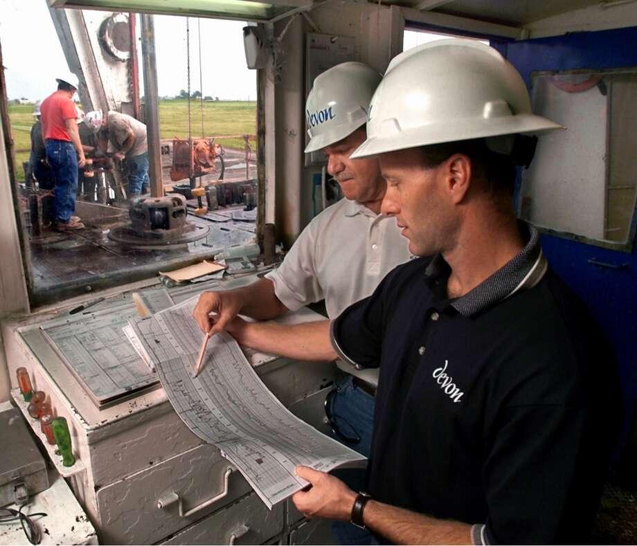 Devon employees work on a gas field in the Barnett Shale.