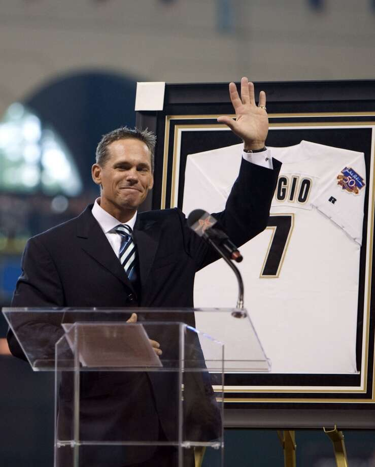 Retired Houston Astros second basemen Craig Biggio during his jersey retirement before Sunday's MLB game at Minute Maid Park Sunday, Aug. 17, 2008, in Houston.