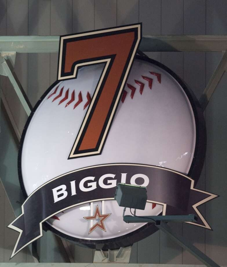 Retired Houston Astros second basemen Craig Biggio's number hangs in the outfield after Biggio's jersey retirement before Sunday's MLB game at Minute Maid Park Sunday, Aug. 17, 2008, in Houston.  ( James Nielsen / Chronicle ) Photo: Houston Chronicle