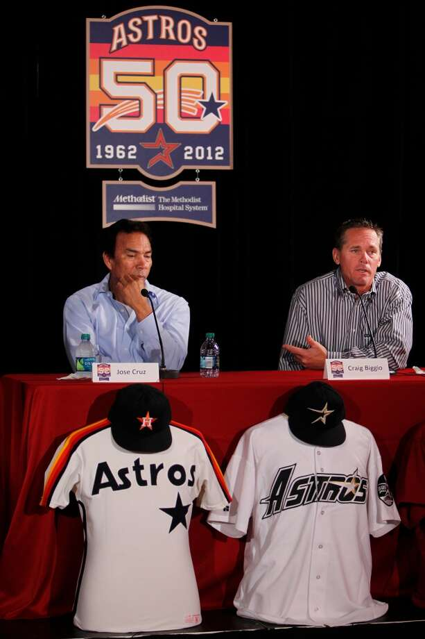 Former Astros Jose Cruz and Craig Biggio address the media during the unveiling of the 50th Anniversary logo at Minute Maid Park on Thursday, Sept. 22, 2011, in Houston. ( Mayra Beltran / Houston Chronicle ) Photo: Houston Chronicle