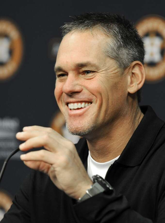 Former Houston Astros player Craig Biggio, who received the highest vote total in the Baseball Hall of Fame vote which ended with no one being elected, talks with the media during a news conference, Thursday, Jan. 10, 2013, in Houston. (AP Photo/Pat Sullivan) Photo: Associated Press