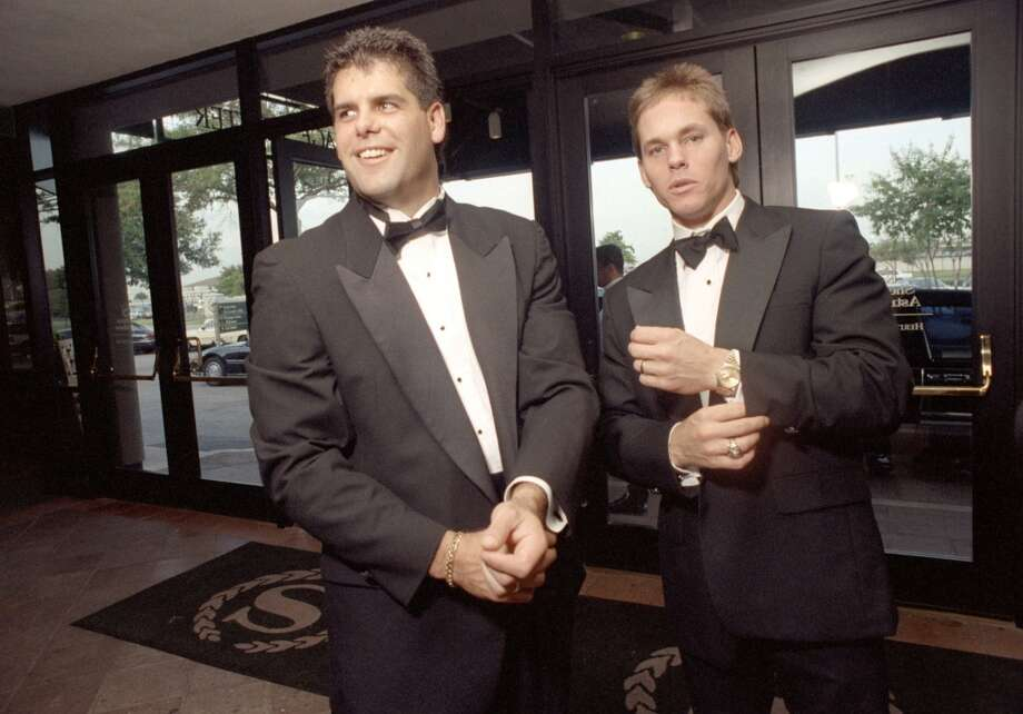 Ken Caminiti (left) and Craig Biggio were dressed to the nines for this 1992 charity event, but when he was in a groove during the road trip, Caminiti eschewed washing some of his essentials. Photo: Houston Chronicle