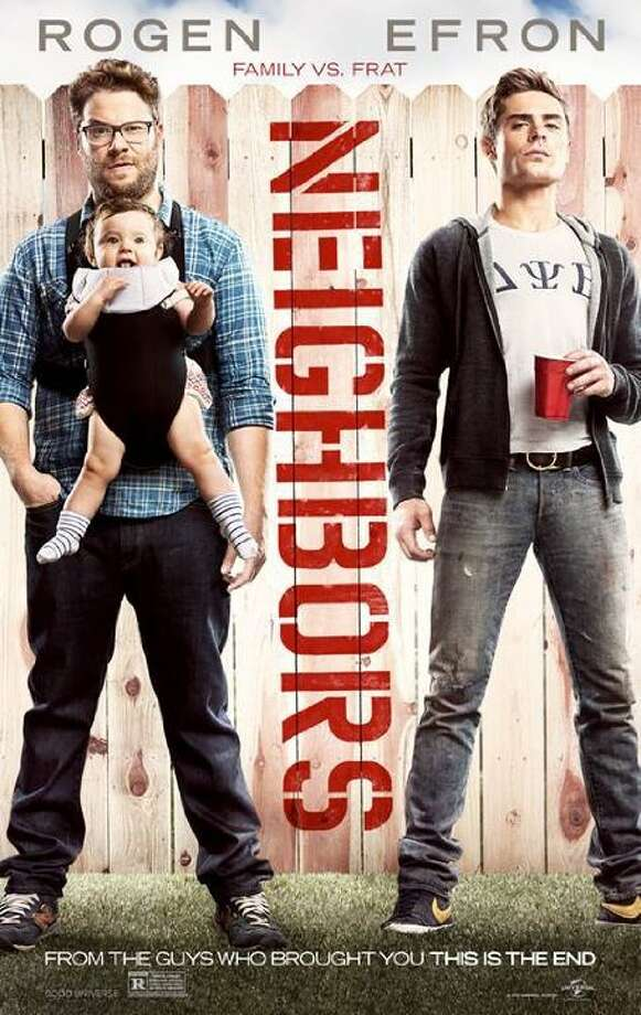 NeighborsStarring:Seth Rogen, Rose Byrne, Zac EfronRelease date:May 9A couple with a newborn baby face unexpected difficulties after they are forced to live next to a fraternity house. Photo: Contributed