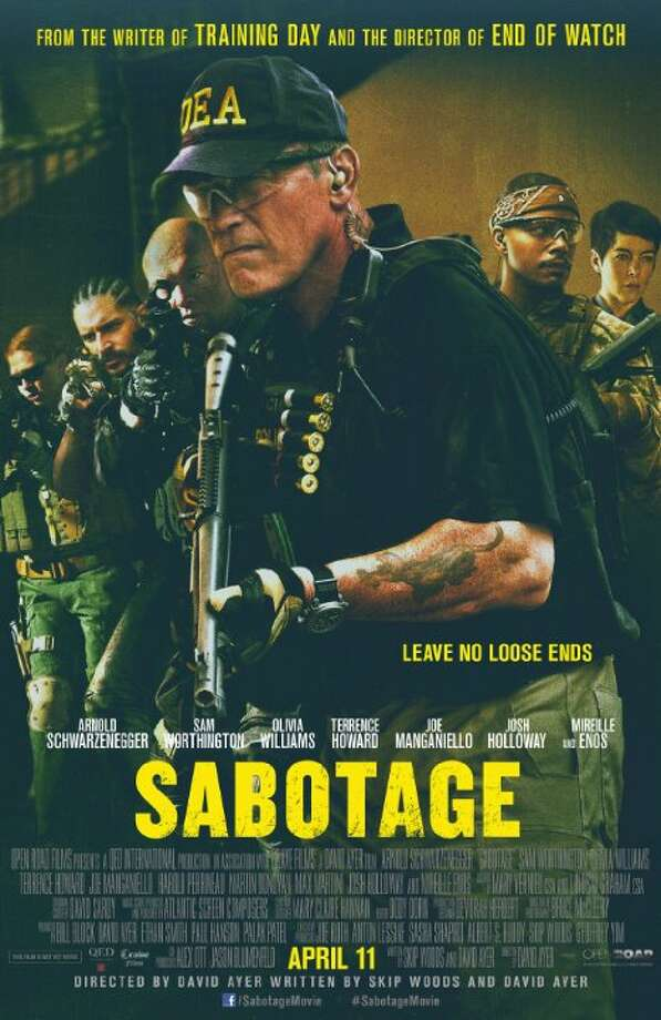 SabotageStarring:Arnold Schwarzenegger, Sam Worthington, Terrence HowardRelease date:April 11Members of an elite DEA task force find themselves being taken down one by one after they rob a drug cartel safe house. Photo: Contributed