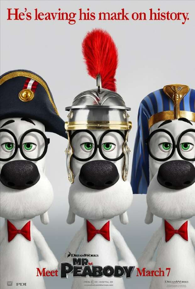 Mr. Peabody & ShermanStarring: Ty Burrell, Max Charles, Stephen ColbertRelease date: March 7Using his most ingenious invention, the WABAC machine, Mr. Peabody and his adopted boy Sherman hurtle back in time to experience world-changing events first-hand and interact with some of the greatest characters of all time. They find themselves in a race to repair history and save the future. Photo: Contributed