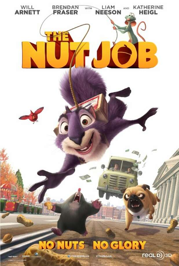 The Nut JobStarring: Will Arnett, Katherine Heigl, Brendan FraserRelease date: Jan. 17Surly, a curmudgeon, independent squirrel is banished from his park and forced to survive in the city. Lucky for him, he stumbles on the one thing that may be able to save his life, and the rest of park community, as they gear up for winter Photo: Contributed