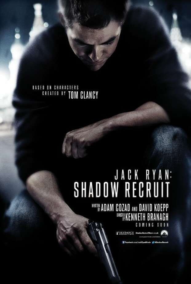 Jack Ryan: Shadow RecruitStarring: Chris Pine, Kevin Costner, Keira KnightleyRelease date: Jan. 17Jack Ryan, as a young covert CIA analyst, uncovers a Russian plot to crash the U.S. economy with a terrorist attack. Photo: Contributed