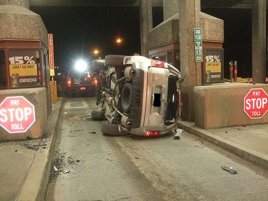 State Police said Rocco Penella, 33, of Monroe was driving drunk on Jan. 1, 2014, when he crashed his vehicle into a concrete barrier on I-84 near the Newburgh Beacon Bridge toll plaza. (State Police photo)