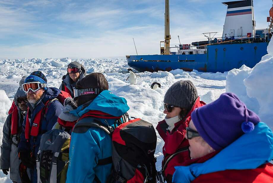 Penguins observe passengers from a stranded ship waiting to be rescued by helicopter Thursday. Photo: Andrew Peacock, AFP/Getty Images