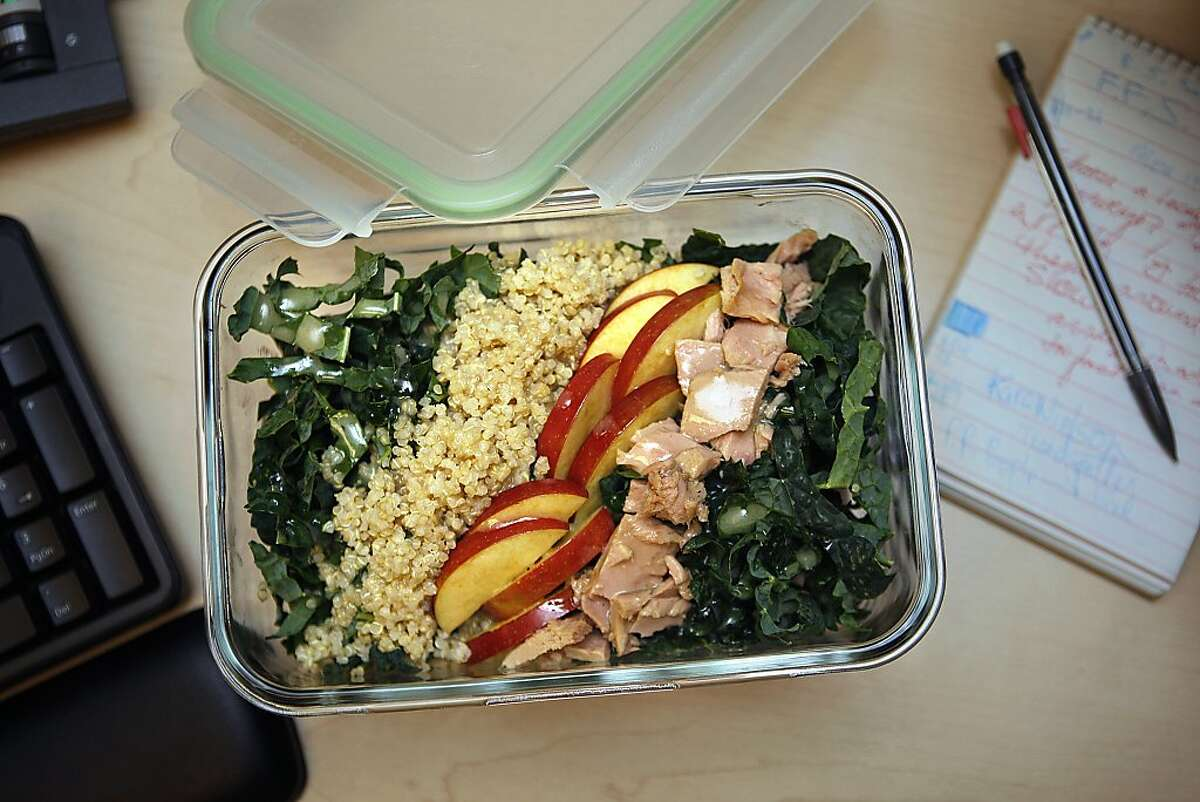 Kale and quinoa salad with apples and tuna styled by Amanda Gold in San Francisco, Calif., on Tuesday, December 31, 2013.