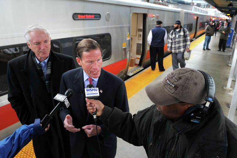U.S. Senator Richard Blumenthal speaks during a press conference at the train station in Bridgeport,