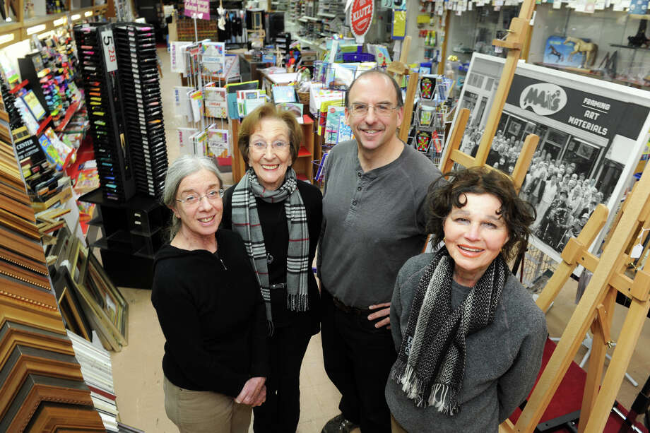 Owner Shirley Mellor, second from left, stands with her staff, from left, Nina Royce, Jay Cimbak and Rita Englebardt at Max's Art Supplies, in Westport, Conn., Jan 2, 2014. Photo: Ned Gerard / Connecticut Post