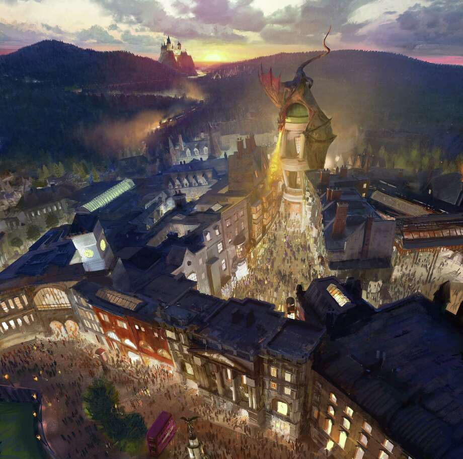 An artist rendering  shows the  Harry Potter- themed area of the Universal theme park in Orlando, Fla., planned for a summer 2014 opening, which was inspired partly by the fictional Diagon Alley from the Harry Potter books and movies. The area will be linked to the existing Wizarding World of Harry Potter attraction by a train called the Hogwarts Express. Photo: NBC Universal / Associated Press / NBCUniversal
