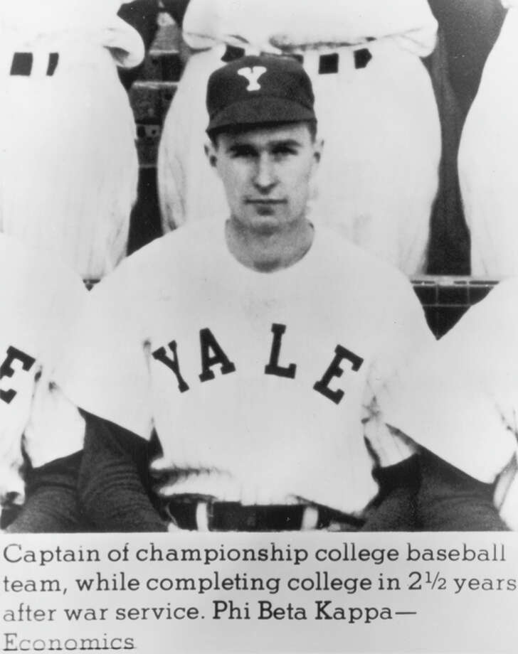 Future U.S. president George H.W. Bush is seen wearing his team jersey and cap as captain of the Yale University baseball team, circa 1946. Photo: Consolidated News Pictures, Getty Images / Archive Photos