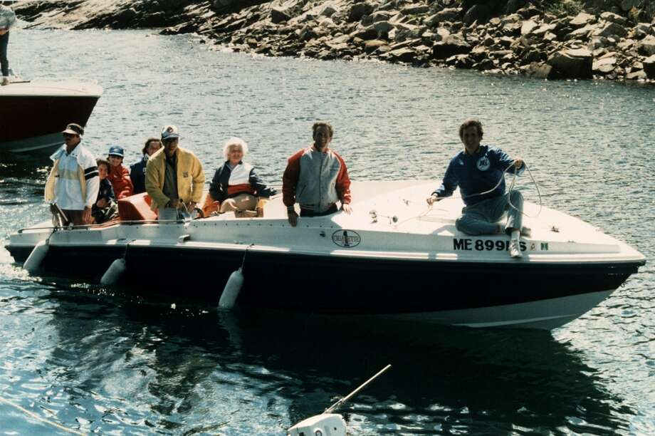 Then Vice President George H.W. Bush with wife Barbara; sons George W. and Marvin; and daughter Dorothy (behind Bush), along with a secret service agent aboard Bush's cigarette boat Fidelity. Photo: David Valdez, Time & Life Pictures/Getty Image