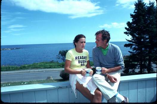 Then candidate for vice president, George H.W. Bush, sits with daughter Dorothy near his home In Kennebunkport, Maine in 1980. Photo: Cynthia Johnson, Getty Images