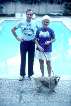 Then-Presidential candidate George Bush, wearing a t-shirt referencing his son George W. Bush, stands with his wife Barbara November 1978 in Texas. Photo: Dirck Halstead, Getty Images / Hulton Archive