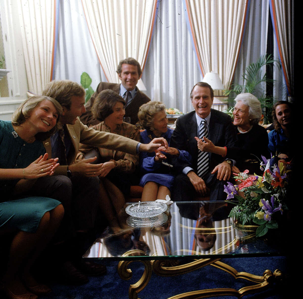 Vice Pres. Bush (3R) w. his family (L-R) wife of son Neil, son Neil, daughter-in-law Laura, son George W., Mrs. Prescott Bush, mother of George H.W., Mrs. Barbara Bush & daughter Dorothy.
