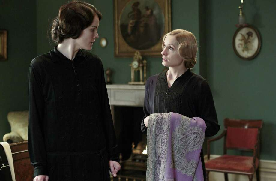 "A mourning Lady Mary (Michelle Dockery) (left) rebuffs all urging to ""re-enter the land of the living"" despite urging by Anna (Joanne Froggatt) and the rest of the ""Downton"" household. Photo: Nick Briggs / Courtesy Masterpiece / San Antonio Express-News"