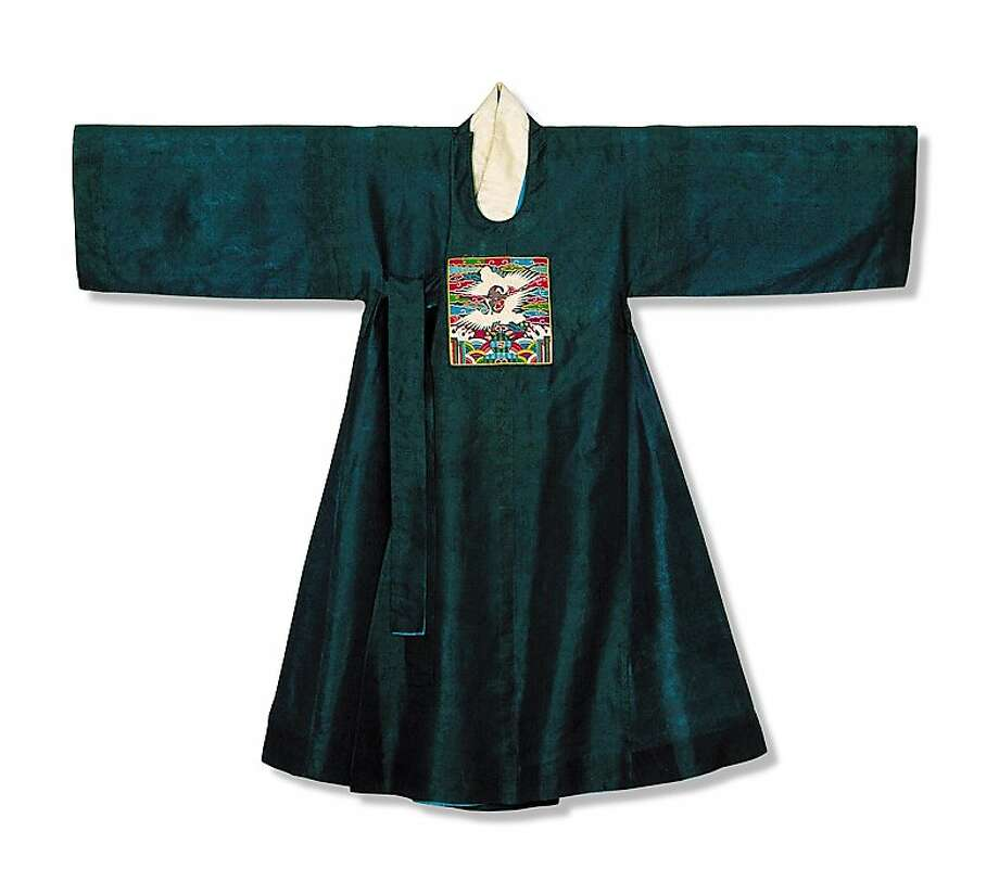 "Left, a robe worn by male officials in early 19th century Korea is part of the ""In Grand Style"" exhibition of items from the Joseon Dynasty at the Asian Art Museum. Photo: Unknown"
