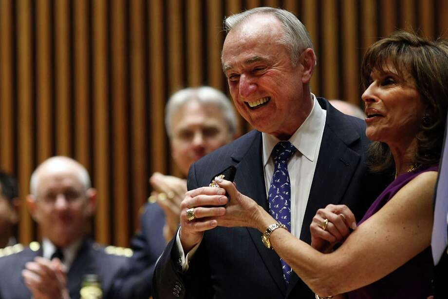 NEW YORK, NY - JANUARY 02:  William Bratton, just sworn in as New York City's 42nd police commissioner by New York City Mayor Bill de Blasio, stands on stage at One Police Plaza with his wife Rikki Klieman, who holds his new police shield, on January 2, 2014 in New York City. Bratton, who was recently the commissioner for the Los Angles Police Department, takes over the job of leading the nationA•s largest police department.  (Photo by Spencer Platt/Getty Images) ORG XMIT: 461081369 Photo: Spencer Platt / 2014 Getty Images