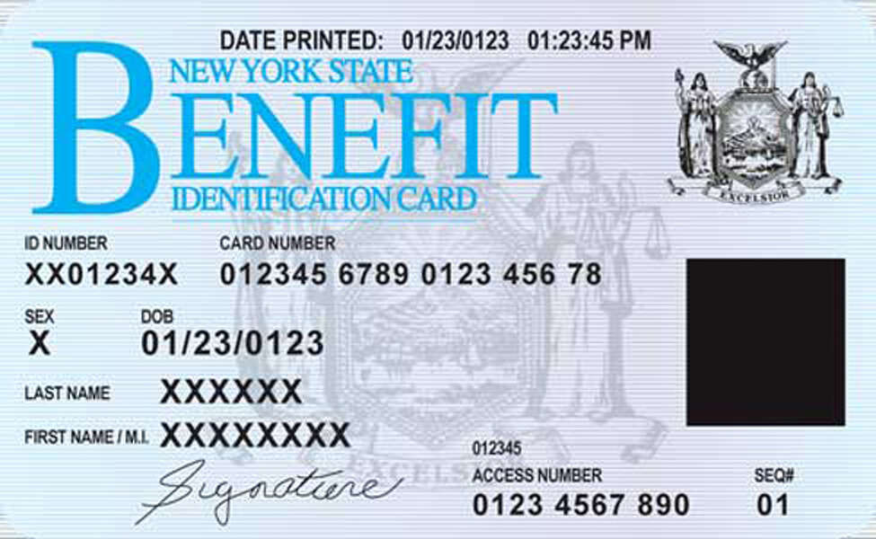 New York electronic benefit card (EBT) sample. (New York State)